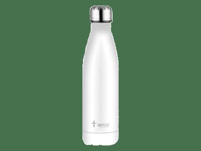 botella acero blanca - transparente