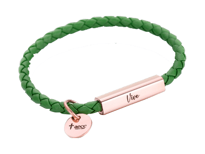 pulsera cuero verde vive - transparente